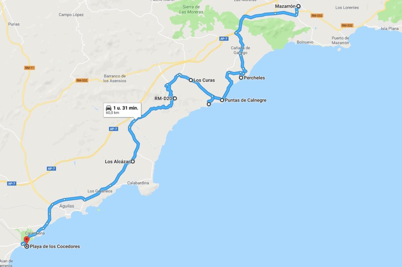 route Mazarron-Cocedores